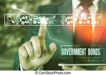 seguridad, issued, significado, bonds., escritura, deuda, gobierno, spending., apoyo, texto, concepto