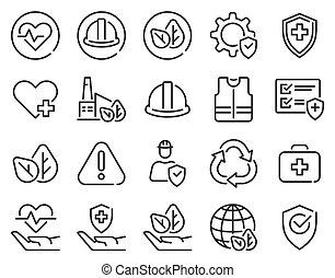 seguridad, médico, protección, preventivo, icons., advertencia, seguridad, contaminación, conjunto, seguro, salud, aire, vector, ambiente, gajes del oficio