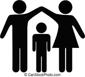 seguridad, madre, padre, familia , niño