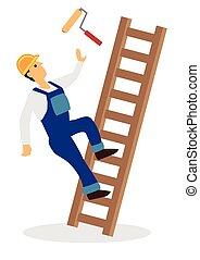 seguridad, o, lugar de trabajo, construcción, concept., ladder., accidente, trabajador, caer