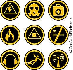 Seguridad ocupacional y iconos de salud