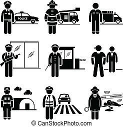 seguridad, seguridad, trabajos, público