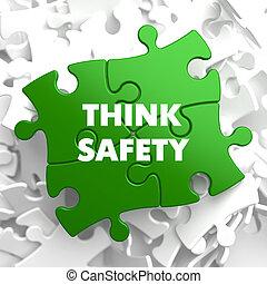 seguridad, verde, pensar, puzzle.