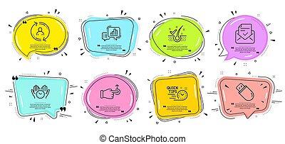 seguro, set., signs., tiempo, gráfico, palo, gota, obstáculo, escamas, puntas, rápido, vector, iconos, anti-dandruff, usb, gráfico