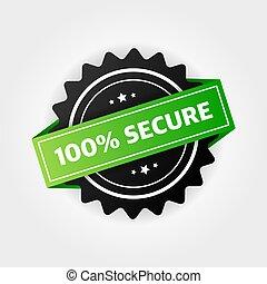 seguro, sitio web, botón, stamp., insignia, 100%, comercio, vector, grunge, o