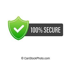 seguro, website., botón, insignia, 100, comercio, icon., ilustración, vector, grunge, o