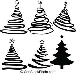 Seis árboles de Navidad. [vector]