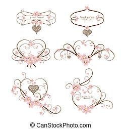 Seis adornos de corazón con lugar para su texto