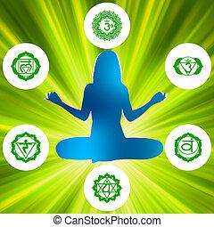Seis chakras y símbolos de espiritualidad. EPS 8