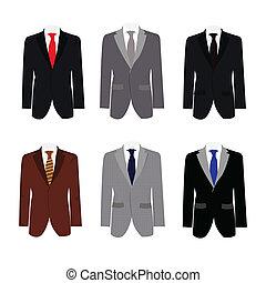 Seis ilustraciones de hermoso traje de negocios