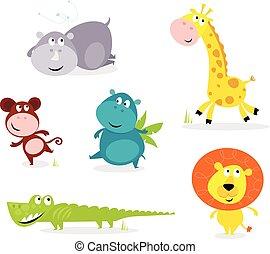 Seis lindos animales de safari - jirafa,