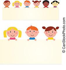 Seis niños multiculturales con estandarte en blanco. Ilustración del vector.