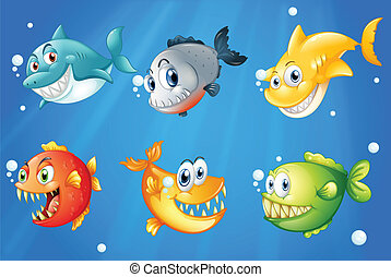 Seis peces coloridos bajo el mar profundo