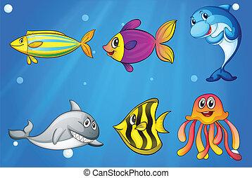Seis peces sonrientes coloridos bajo el mar