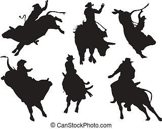 Seis siluetas de rodeo. Ilustración del vector