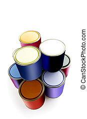 Selección de latas de pintura