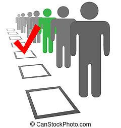 selección, gente, cajas, elegir, voto, elección