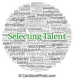 Seleccionando el concepto de talento en la nube de etiqueta
