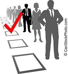 selecto, recursos, personas empresa, elegir, caja