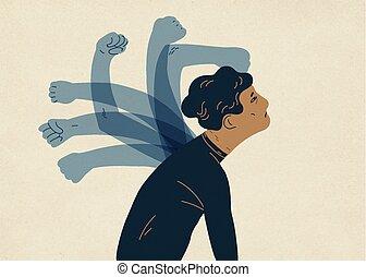 self-harm, translúcido, colorido, self-abasement, fantasmal, vector, style., paliza, culpa, ilustración, concepto, psicológico, self-flagellation, plano, manos, moderno, man., feeling., self-punishment