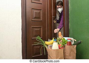 self-isolate, o, alimento, entregar, cuarentena, mujer