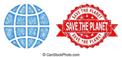 sello, angustia, excepto, icono, red, globo, planeta