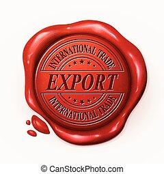sello, cera, rojo, exportación, 3d