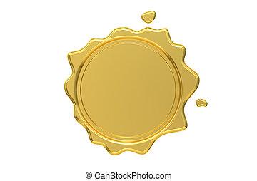 Sello de cera dorada, versión 3D