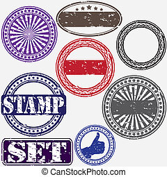 sello de goma, conjunto, grunge, vector