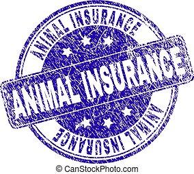 Sello de sello de sellos de seguro de animales del grunge