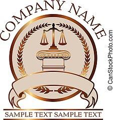sello, -, o, justicia, abogado, ley, oro, iónico, escalas, columna
