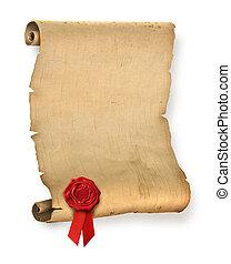 sello, viejo, pergamino, rojo, cera