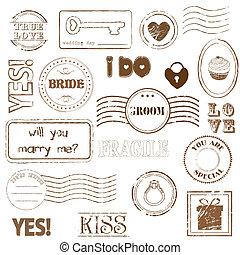 sellos, conjunto, boda