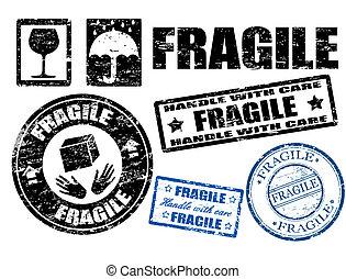 sellos, frágil, señales