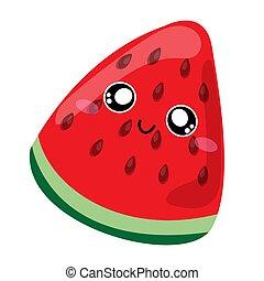 semillas, kawaii, characters., transparente, pedazo, caricatura, vector, plano de fondo, face., ilustración, lindo, sandía, carácter, sonriente, divertido, fruta, aislado