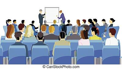 seminario, reunión, discusión, empresa / negocio, illustration.eps