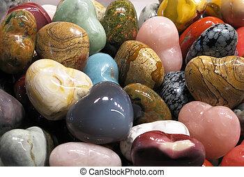 semiprecious, piedras, conjunto