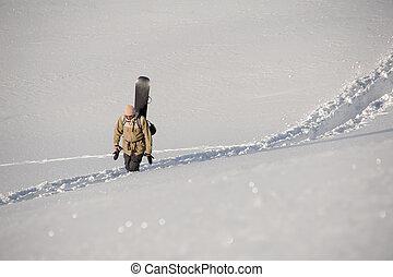 senda, nieve, trodden, snowboard, espalda, atrás, hombre caminar