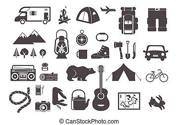Senderismo, camping, juegos de iconos y elementos