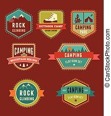 Senderismo, placas de campamento, juegos de iconos y elementos