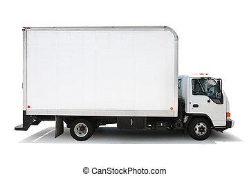 senderos, recorte, aislado, entrega, plano de fondo, camión, included., blanco