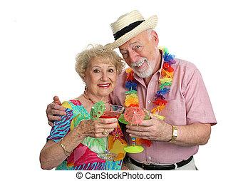 seniors, vacaciones, cócteles