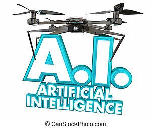 sensible, ai, inteligencia, artificial, máquina, zángano, ilustración, aprendizaje, 3d