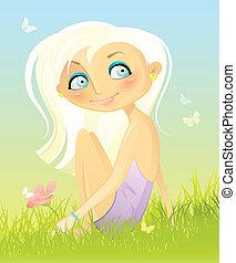 Sentado en la hierba