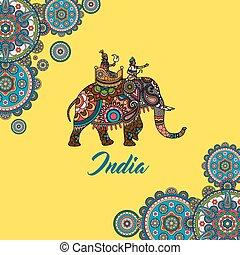 sentado, indio, maharaja, elefante