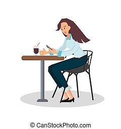sentado, mujer de negocios, color, desk., vector, illustration., silla