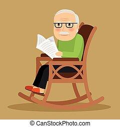 sentado, periódico, viejo, mecedor, hombre, silla