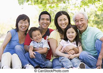 sentado, sonriente, familia extendida, aire libre