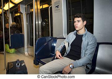sentado, trabajo, joven, tren, metro, el conmutar, hombre