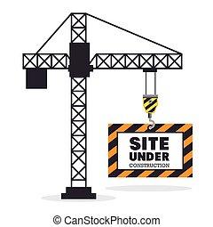 Sentados bajo la escena de construcción con grúas